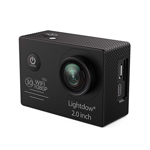 Lightdow LD6000 WiFi 1080P HD Sports Action Camera Kit - App Remote Control 30m Waterproof 2.0 inch LCD Screen 170 Degree Wide Angle 2 Rechargeable Batteries and Mounting Accessories (Black+WiFi) by Lightdow