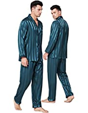 LONXU Pyjama Set Heren Zijde Satijn Pyjama Lange Mouw Loungewear Tweedelige Nachtkleding Button-Down Pj Set S-XXXXL