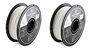 HATCHBOX PLA 3D Printer Filament, Dimensional Accuracy +/- 0.03 mm, 1 kg Spool, 1.75 mm, White. (2 Pack)