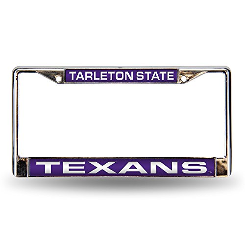 NCAA Tarleton State Texans Laser Cut Inlaid Standard Chrome License Plate Frame (Chrome Frame College State)