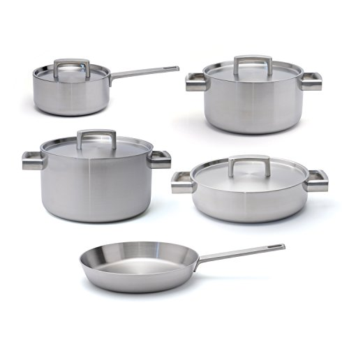 Berghoff RON Stainless Steel Covered Sauce Pan, Covered Casserole, Covered Deep Skillet, Covered Stockpot and Fry Pan Cookware Set 9pc