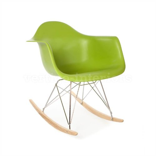 Eames Style RAR Rocking Arm Lounge Chair - Green