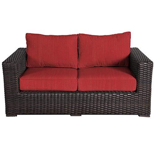 (Envelor Santa Monica Outdoor Patio Furniture Love Seat Durable Wicker Rattan Includes Crimson Dupione Sunbrella Cushions)