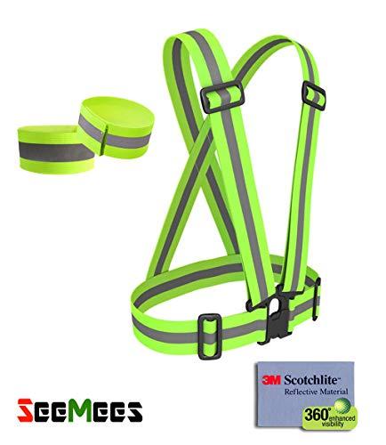 SeeMees Reflective Running Vest | Arm Band | High Visibility at Night Cycling, Dog Walking, Jogging | Fully Adjustable |