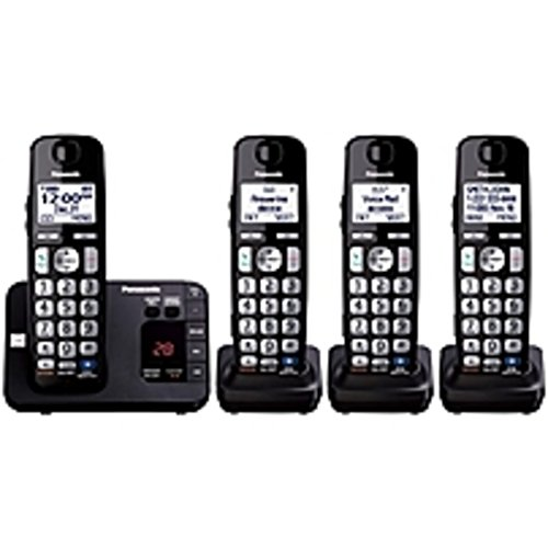 Panasonic KX-TGE234B DECT 6.0 1.90 GHz Cordless Phone - Black - Cordless - 1 x Phone Line - 3 x Handset - Speakerphone - Answering Machine - Hearing Aid Compatible - Backlight ()