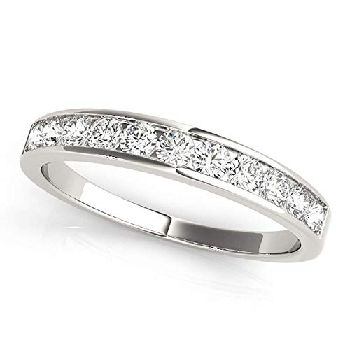 (JewelMore 1/2ctw Diamond Channel Wedding Band in 10k White Gold (9))