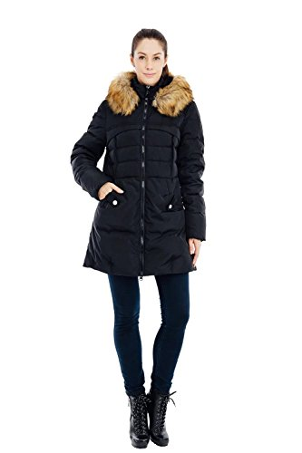 Women's 57 Hood Jacket Fur Coat with Puffer Parka Valuker S Down 90D Black aqxATad