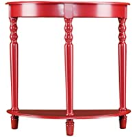Southern Enterprises Tyra Demilune Accent Table, Red Finish