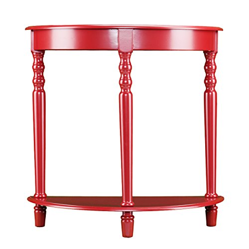 Tyra Demilune Accent Table - Small Wall Table - Unique Red Finish