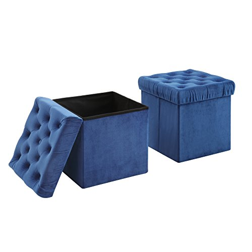 AC Pacific Foldable Storage Ottoman Cube Foot Rest, Blue (2 Pack)