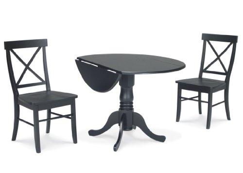 International Concepts 3-Piece 42-Inch Dual Drop Leaf Pedestal Table with 2 X-Back Chairs, Black Finish