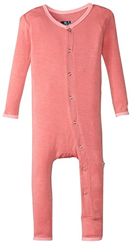 Solid Girl Coverall - Kickee Pants Baby Girls' Solid Fitted Coverall Prd-kpca212-drl, Desert Rose/Lotus, 3-6 Months