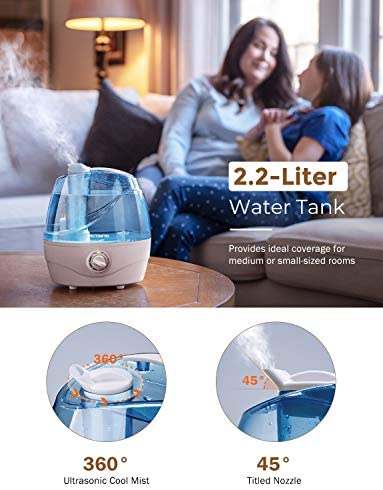 VicTsing 2200ml Cool Mist Humidifiers, Ultrasonic Humidifiers with Large Water Tank, 24 Working Hours, Waterless Auto Off, 28dB Quiet Air Humidifier