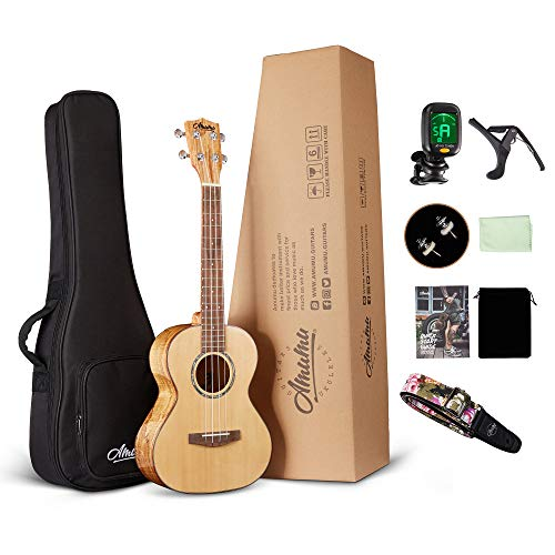 (Amumu AM-SPFM-T Solid Spruce Top Spalted Maple Gloss Tenor Ukulele w/Gig Bag and Clip On Tuner)