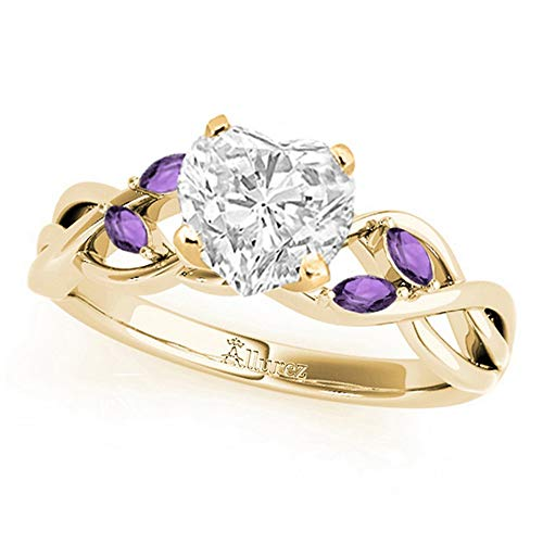 Twisted Heart Amethysts Engagement Ring 18k Yellow Gold (1.50ct)