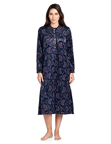 - Ashford & Brooks Women's Mink Fleece Long Sleeve Nightgown - Pink Navy Paisley - Large