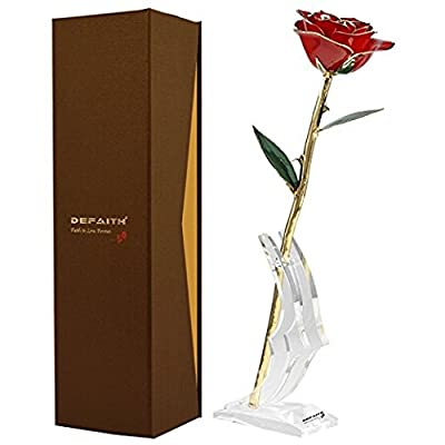 Gold Rose, DEFAITH 24K Gold Trimmed Long Stem Real Rose with Moon-shape Stand. Last a Lifetime. Great Anniversary Gift