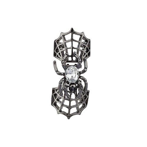 Lux Accessories Gunmetal Spiderweb Crystal Spider Halloween - Web Turquoise Ring Spider