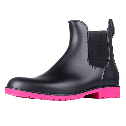 - Asgard Women's Short Rain Boots Waterproof Slip On Ankle Chelsea Booties RS41 Rose