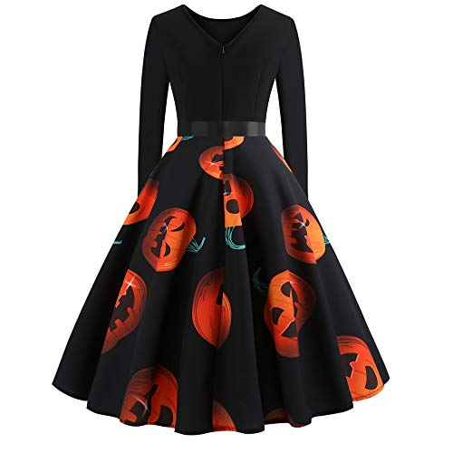 Clearance Halloween Dress, Forthery Women Pumpkin Skull Skater Swing Dress Vintage Elegant A-line Skull Dress (US Size S = Tag M, Orange)]()
