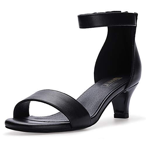 IDIFU Women's IN2 Slim Fashion Stilettos Ankle Strap Open Toe Pump Heeled Sandals Kitten Heel Party Shoes with Zipper (11 M US, Black Pu)