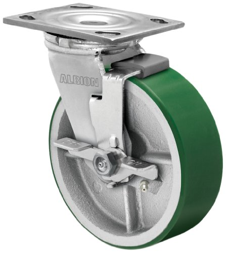 Albion-16-Series-8-Diameter-Polyurethane-on-Cast-Iron-Wheel-Medium-Heavy-Duty-Zinc-Plate-Swivel-Caster-with-Face-Brake-Roller-Bearing-4-12-Length-X-4-Width-Plate-1250-lbs-Capacity-Pack-of-2