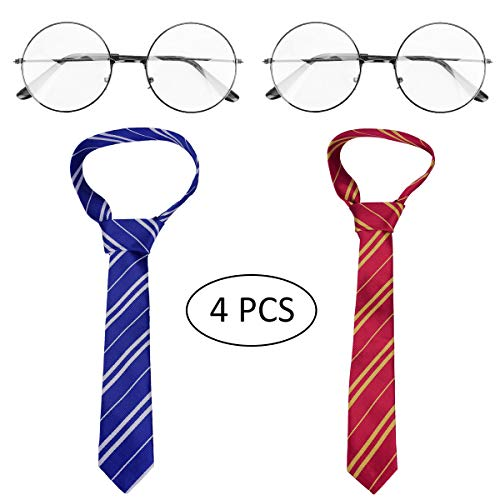 YoungRich 2PCS Striped Tie & 2PCS Novelty Metal Glasses Frame for Harry Potter Cosplay or Halloween Party Costumes Adults -