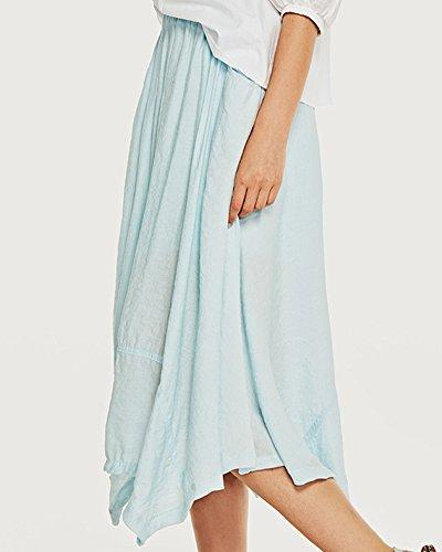 Poches Femme Jupe Bureaux ZhuiKunA Taille Respirant Irrgulier Couleur Azur Pure Haute xZ5w8P