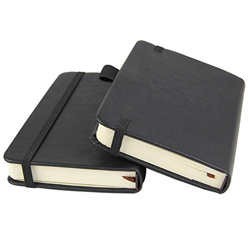 "(2-Pack) Pocket Notebook 3.5"" x 5.5"", Small Hardcover Journal with Pen Holder, Inner Pockets, 100gsm Thick Ruled/Lined Paper, Black"