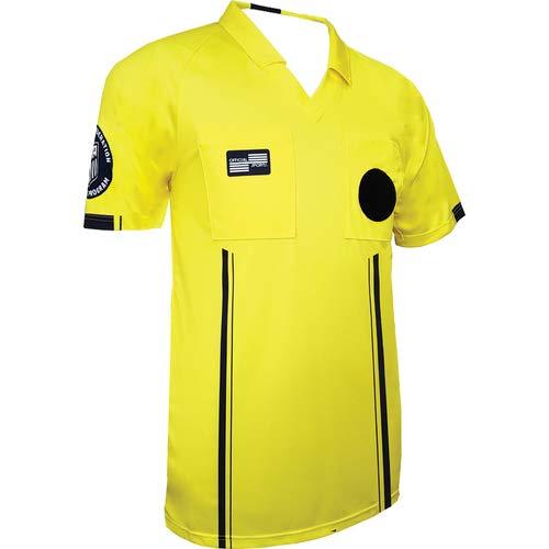 New USSF Men's Economy Yellow Soccer Referee SS Shirt (Yellow, ()