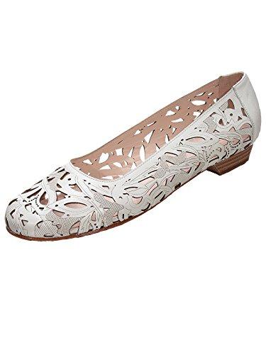 Marion Spath Damen 327-329 Glattleder Laserprint-Ballerina Weiß