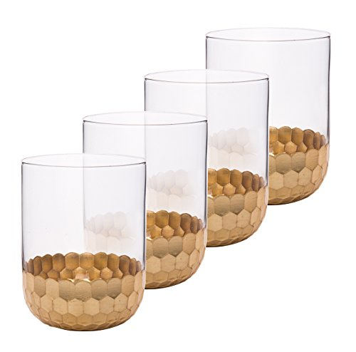 blers Cups 4 Pack, Premium Drinkware Set Gold Plated, Party Gifts ()