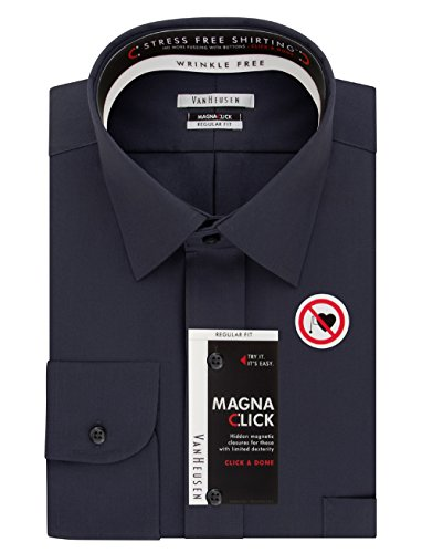 Van Heusen Men's Magna Click Regular Fit Solid Spread Collar Dress Shirt, Charcoal, 17