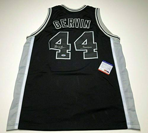 George Gervin Signed Black San Antonio Spurs Basketball Jersey