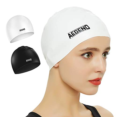 aegend 2 Pack Swim Cap, Durable Silicone Swimming Caps for Long Hair Short Hair, Adult Youth Women Men, Black White