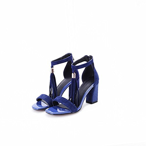 Adee Mujer con Flecos. Sólida de poliuretano Sandalias Azul - azul