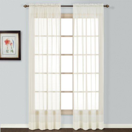 United Curtain Batiste Semi-Sheer Window Curtain Panel, 54 by 72-Inch, Natural