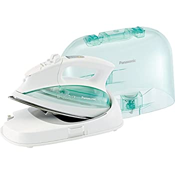 Panasonic Contoured Stainless Steel Soleplate, Vertical, Auto Shut Off, Power Base and Carrying/Storage Case - NI-L70SRW Cordless 1500W Steam/Dry Iron, standart, Green/white