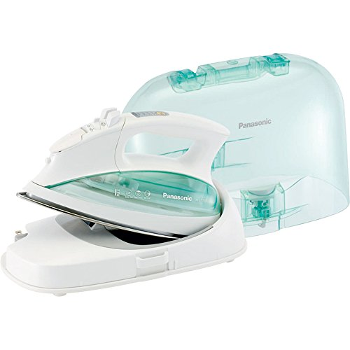Panasonic Cordless Iron, 1500W Steam/Dry Iron with Contoured Stainless Steel Soleplate, Vertical Steam, Auto Shut Off, Power Base and Carrying/Storage Case - NI-L70SRW (White/Clear/Green)