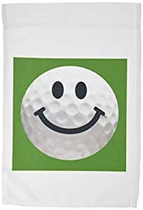 3dRose fl_76670_1 Smiley Face Golf Ball Happy White Golf Ball Golfer Gift Smilie on Dark Green Background Garden Flag, 12 by 18-Inch