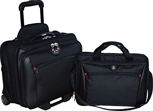 Wheeled Computer Case Overnighter (SwissGear Potomac 2-Pc Business Set With Double Zipper Overnighter Rolling Case And Matching 15.4