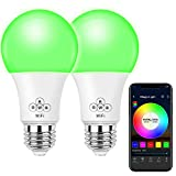 MagicLight WiFi Smart Light Bulb, Dimmable, Multicolor, Wake-Up Lights, No Hub Required, Compatible with Alexa, Google Home, Widget, IFTTT and Siri Shortcut - 2Pack
