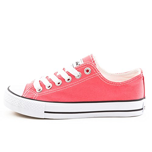 Damen Sneaker Low Top Schuhe Canvas Textil Coral