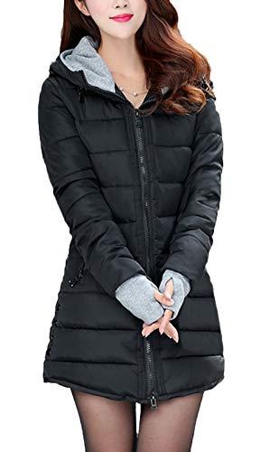 Parka Plus Invernale Outerwear Vita Alta Eleganti Donna Fashion Incappucciato Piumini Lunga Caldo Slim Ragazza Fit Addensare Prodotto Manica Nero Piumino Chic xQdhrBtsC