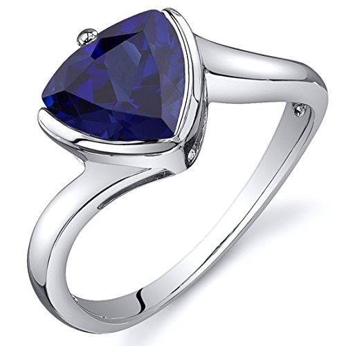 Created Sapphire Solitaire Ring Sterling Silver Rhodium Nickel Finish Trillion 2.50 Carats Size 7