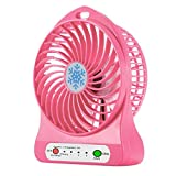 Portable Mini LED Fan Air Cooler Battery Operated USB Charging Desktop 3 Mode Speed Regulation LED Lighting Function