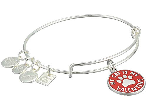 Alex and Ani Women's Charity by Design My Cat is My Valentine Charm Bangle Bracelet, Shiny Silver, Expandable]()