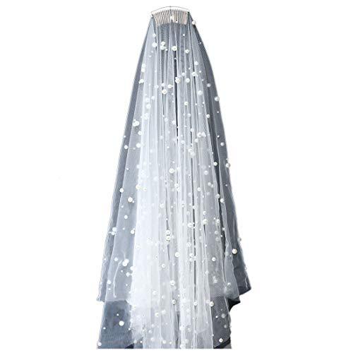 Pearl Wedding Veil for Bridal - Edge Fingertip Length 2 Tier - Cap Bride Rhinestone