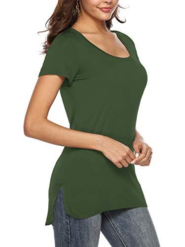 Florboom Womens Soft Short Sleeve Loose Tshirts Split Tunic Shirts Army Green S