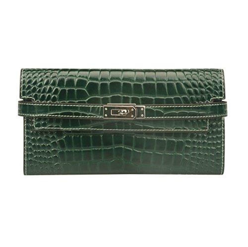 Crocodile Embossed Leather Handbag (Ainifeel Women's Patent Leather Crocodile Embossed Padlock Wallet Billfold (Green))